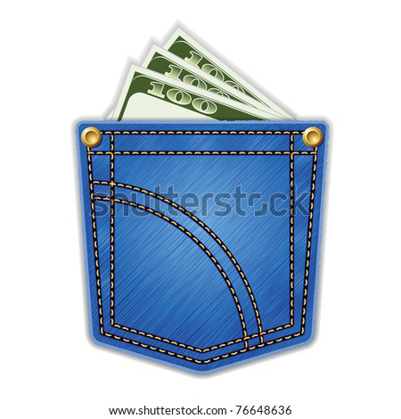 Jeans pocket with money. - stock vector