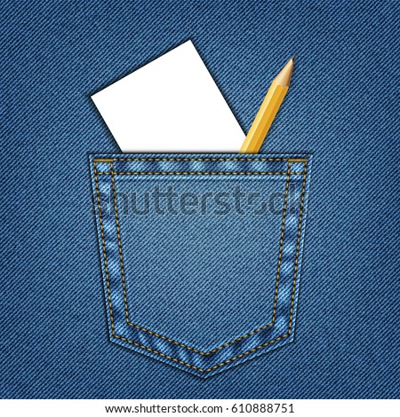 Jeans Pocket Pencil White Paper Template Stock Vector