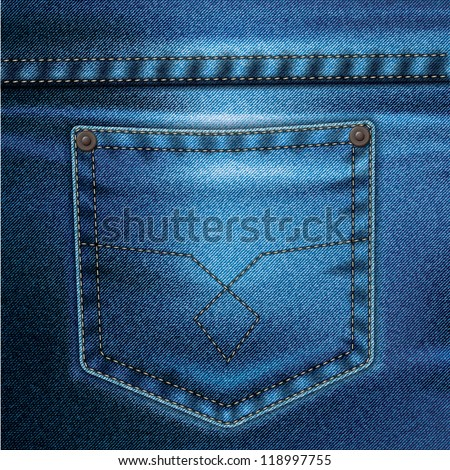Jeans realistic drawing on a colored background - stock vector