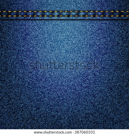 Jeans realistic drawing on a colored background. Realistic denim texture pattern. Vector illustration. - stock vector