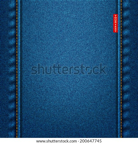 jeans texture blue fabric denim background. vector illustration eps10 - stock vector
