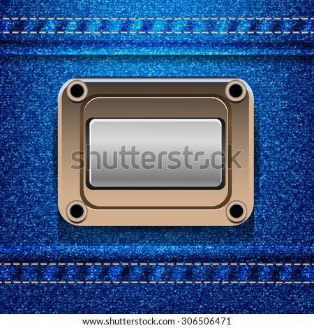 jeans texture eps 10 background with empty label - stock vector