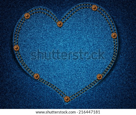Jeans texture with heart for your design