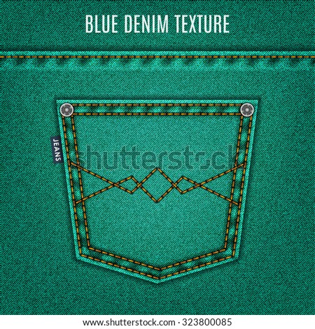 jeans turquoise texture with pocket denim background. stock vector illustration eps10 - stock vector