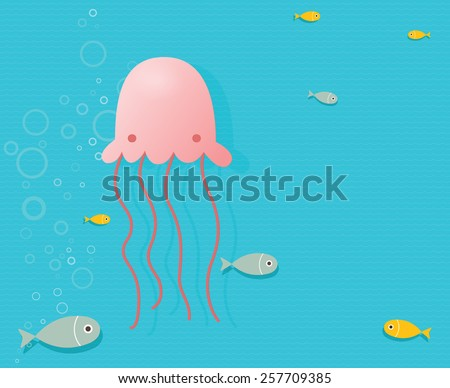 Jellyfish underwater - stock vector