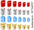 Jerry can Icons - stock photo