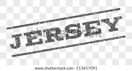 Jersey watermark stamp. Text tag between parallel lines with grunge design style. Rubber seal stamp with scratched texture. Vector grey color ink imprint on a chess transparent background.