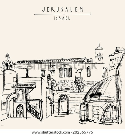 Jerusalem, Israel. Handmade brush ink drawing isolated in vector. Postcard greeting card graphic design template. Freehand travel sketch background with copy space for your text. Hand lettering title