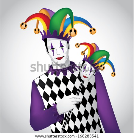 Jester. EPS 10 vector, grouped for easy editing. No open shapes or paths. - stock vector