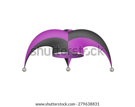 Jester hat in black and purple design  - stock vector