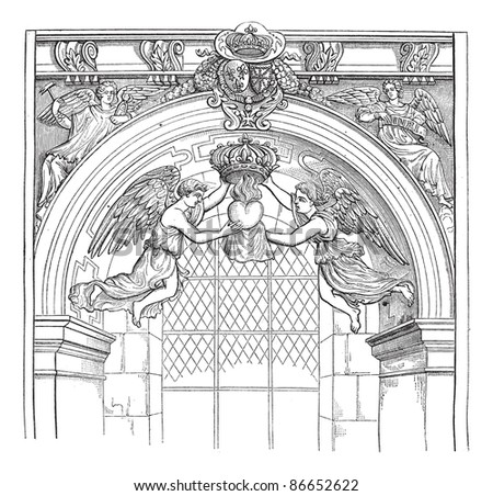 Jesuit Church, rue Saint-Antoine. - Angels of money with the heart of Louis XIII, after an engraving published in the Archives of scientific missions, vintage illustration. Magasin Pittoresque 1874. - stock vector