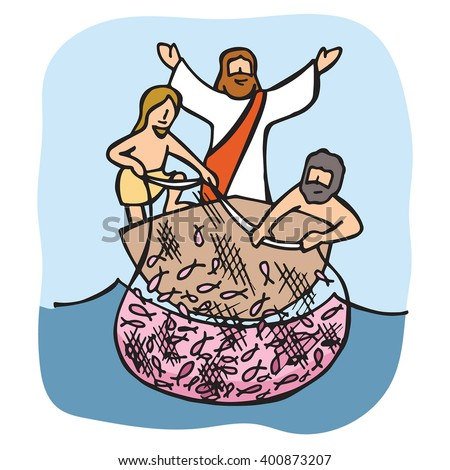 Jesus asks disciples cast net over stock vector 400873207 for Where can i buy a fishing license near me