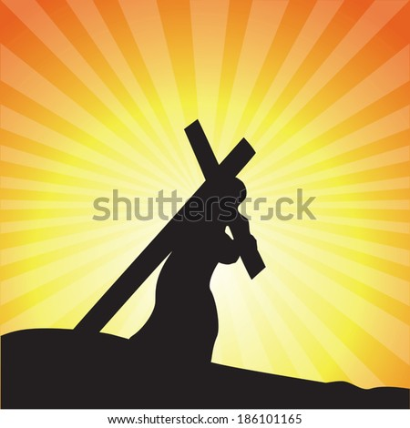 Jesus carrying His cross, Good Friday. - stock vector