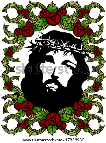 Jesus Christ and Christian with red rose floral pattern on white background - stock vector