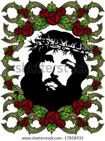 Jesus Christ Christian Red Rose Floral Stock Vector 2018 17858935