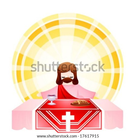 Jesus Christ and Happy Christian on white background : vector illustration - stock vector
