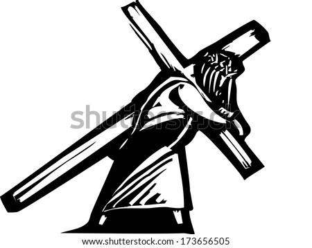 Jesus Christ bearing the cross on his backs towards his crucifixion. - stock vector