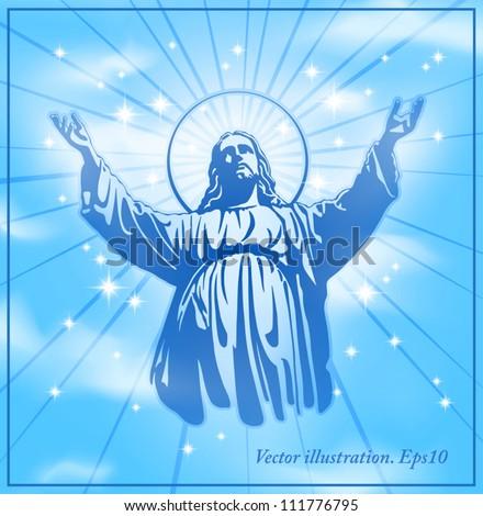 Jesus Christ, blessing, Christianity - stock vector