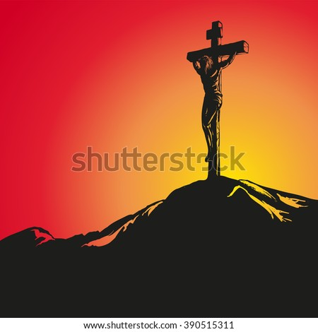 Jesus Christ Crucifiction hand drawn vector llustration  - stock vector