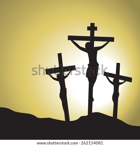 Jesus Christ Crucified. Silhouette of Jesus Christ's crucifixion. - stock vector