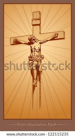 Jesus Christ, crucifix, blessing, cross, Christianity - stock vector