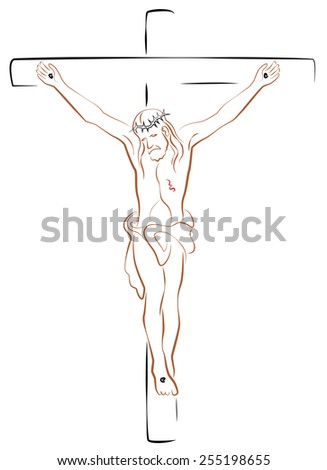 Jesus Christ Crucifix. Isolated outline vector illustration on white background. - stock vector