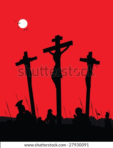 Jesus Christ - Crucifixion. Vector Illustration. - stock vector