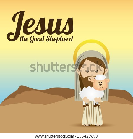 jesus christ design over sky background vector illustration  - stock vector