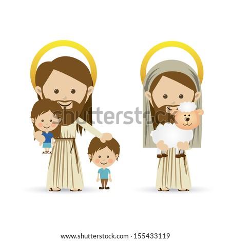 jesus christ design over white background vector illustration  - stock vector