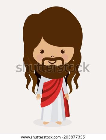 Jesus christ design over white background, vector illustration - stock vector