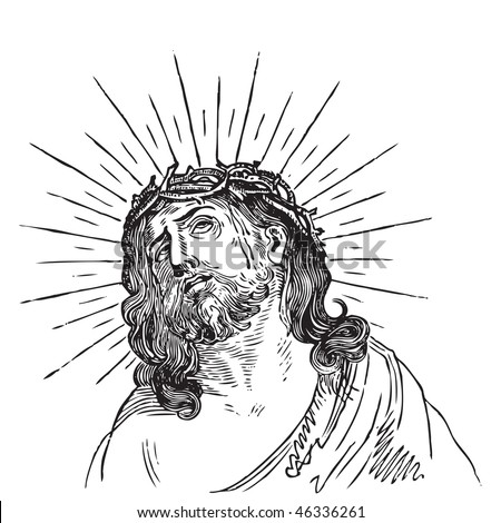 Jesus Christ engraving, crowned with  thorns; scalable and editable vector illustration; hi-res jpg included - stock vector