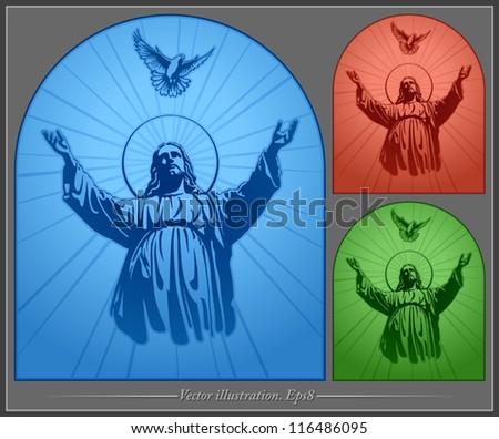 Jesus Christ, holy Spirit, blessing, Christianity, vector - stock vector