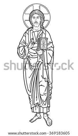 Jesus Christ icon outline - stock vector