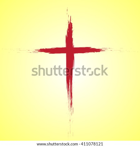 Jesus Christ logo. Cross painted brushes. Easter background - stock vector
