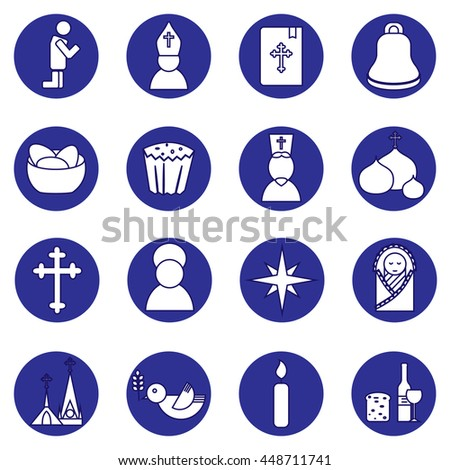 Jesus Christ religion icons set. Christianity pictograms in circle shape - stock vector