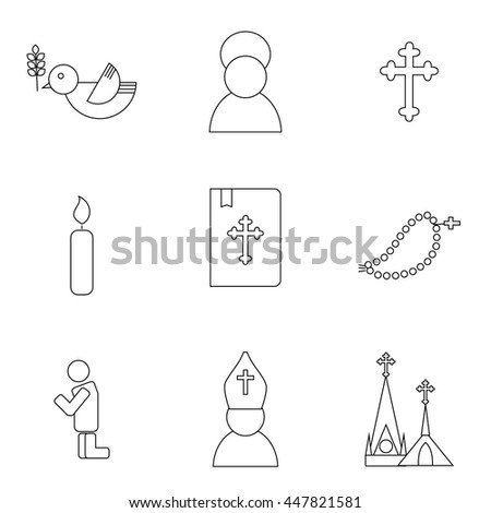 Jesus Christ religion icons set. Christianity pictograms outline style - stock vector