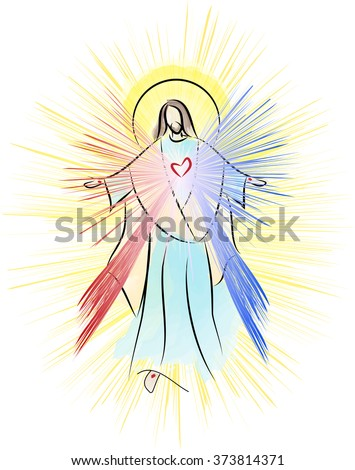 Jesus Christ, Sacred Heart Divine Mercy with rays. Vector color illustration. - stock vector