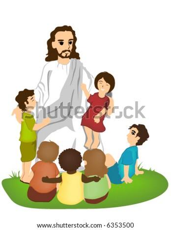 Jesus Christ talking to Children - stock vector