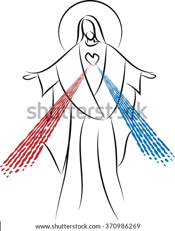 Jesus Christ the Risen Lord, Sacred Heart with Divine Mercy. Simple abstract vector drawing. - stock vector