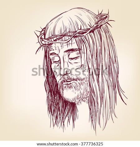 Jesus Christ, the Son of God in a crown of thorns on his head, a symbol of Christianity hand drawn vector llustration realistic sketch - stock vector