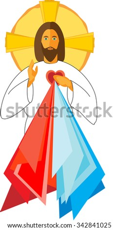 Jesus Christ with his Sacred Heart Divine Mercy, blessing. Vector illustration. - stock vector