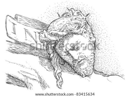 Jesus crucified - stock vector