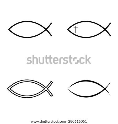 Jesus Fish Icon Set - stock vector