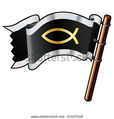 Jesus fish religious icon on black, silver, and gold vector flag good for use on websites, in print, or on promotional materials - stock vector