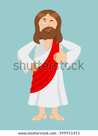 Jesus hands shows thumbs up. Son of God. Signs all right. Hand showing ok. Gesture of hand. Jesus of Bible character. Biblical man  - stock vector