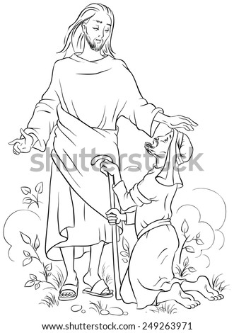 Jesus healing a lame man. Colouring page. Also available colored version - stock vector
