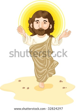 Jesus in the dessert with halo - stock vector