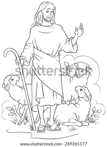 Jesus Is A Good Shepherd Christian Easter Holiday Coloring Page Also Available Colored Version