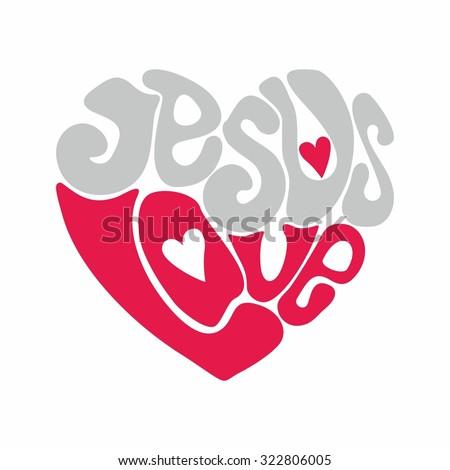 Jesus love heart - stock vector