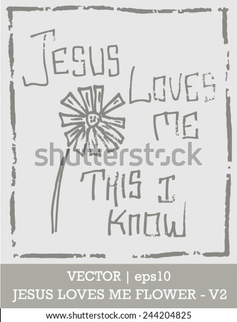 Jesus loves me this I know Sunday school song vector | EPS10 - stock vector